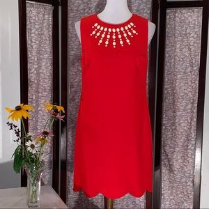 Cynthia Steffe solid red sleeveless dress.